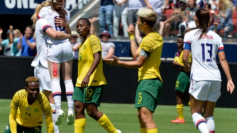 <p>               The United States team celebrates after a goal by midfielder Samantha Mewis (3) in the first half of an international friendly soccer match against South Africa in Santa Clara, Calif., Sunday, May 12, 2019. (AP Photo/Nic Coury)             </p>
