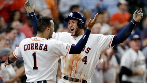 <p>               Houston Astros' Carlos Correa (1) and George Springer (4) celebrate Springer's home run during the third inning of the team's baseball game against the Texas Rangers on Thursday, May 9, 2019, in Houston. (AP Photo/Michael Wyke)             </p>
