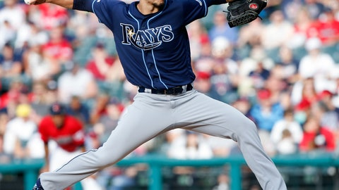 <p>               Tampa Bay Rays starting pitcher Charlie Morton delivers against the Cleveland Indians during the first inning of a baseball game, Saturday, May 25, 2019, in Cleveland. (AP Photo/Ron Schwane)             </p>