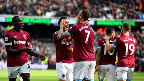 <p>               West Ham United's Marko Arnautovic, center, celebrates scoring his side's second goal of the game during their English Premier League soccer match against Southampton at London Stadium in London, Saturday, May 4, 2019. (Victoria Jones/PA via AP)             </p>