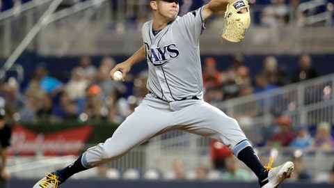 <p>               Tampa Bay Rays reliever Emilio Pagan throws during the fifth inning of the team's baseball game against the Miami Marlins, Wednesday, May 15, 2019, in Miami. (AP Photo/Lynne Sladky)             </p>