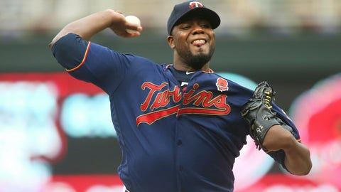 <p>               Minnesota Twins pitcher Michael Pineda throws against the Milwaukee Brewers in the first inning of a baseball game Monday, May 27, 2019, in Minneapolis. (AP Photo/Jim Mone)             </p>