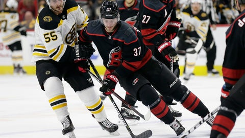 <p>               Boston Bruins' Noel Acciari (55) chases the puck with Carolina Hurricanes' Andrei Svechnikov (37), of Russia, during the first period in Game 4 of the NHL hockey Stanley Cup Eastern Conference final series in Raleigh, N.C., Thursday, May 16, 2019. (AP Photo/Gerry Broome)             </p>