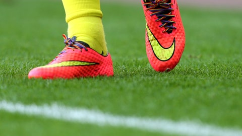 <p>               FILE - In this Sept. 13, 2014, photo a view of rainbow laces in Tottenham Hotspurs' Harry Kane boots, as part of an anti-homophobia campaign, as he warms up ahead of their English Premier League soccer match against Sunderland at the Stadium of Light, Sunderland, England. The French football league has set up an action plan to tackle homophobia in its stadiums that paves the way for judicial sanctions against abusive fans. (AP Photo/Scott Heppell)             </p>