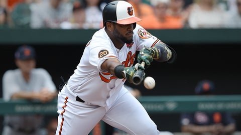<p>               Baltimore Orioles' Hanser Alberto bunts for a base hit against the Detroit Tigers in the first inning of a baseball game Monday, May 27, 2019, in Baltimore, Md. (AP Photo/Gail Burton)             </p>