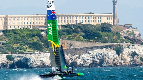 <p>               Australia's SailGP team passes Alcatraz while practicing on Tuesday, April 30, 2019, in San Francisco. The F50 foiling catamarans, which organizers say can reach 60 miles per hour, will compete on the San Francisco Bay May 4-5. (AP Photo/Noah Berger)             </p>