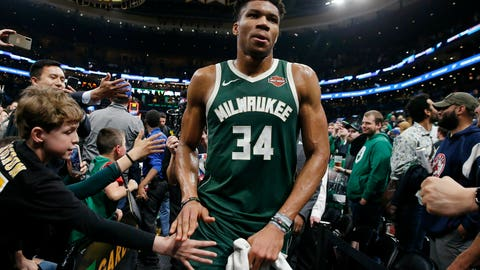 <p>               Milwaukee Bucks' Giannis Antetokounmpo leaves the court after defeating the Boston Celtics in Game 4 of a second-round NBA basketball playoff series in Boston, Monday, May 6, 2019. (AP Photo/Michael Dwyer)             </p>