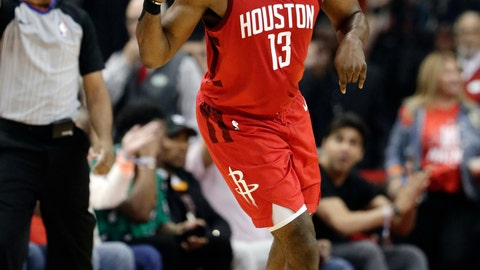 <p>               Houston Rockets' James Harden (13) celebrates sinking a basket during the first half in Game 6 of a second-round NBA basketball playoff series against the Golden State Warriors on Friday, May 10, 2019, in Houston. (AP Photo/Eric Gay)             </p>