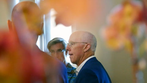 <p>               Atlanta Falcons President and CEO, Rich McKay, speaks to the media during the NFL owners meeting, Tuesday, May 21, 2019, in Key Biscayne, Fla. (AP Photo/Brynn Anderson)             </p>