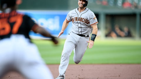 <p>               San Francisco Giants' Buster Posey runs to third on a single by Pablo Sandoval during the first inning of a baseball game, Friday, May 31, 2019, in Baltimore. (AP Photo/Nick Wass)             </p>