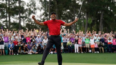 <p>               FILE - In this Sunday, April 14, 2019, file photo, Tiger Woods reacts as he wins the Masters golf tournament in Augusta, Ga. Woods goes for his next major on May 16 when the PGA Championship starts at Bethpage Black. (AP Photo/David J. Phillip, File)             </p>