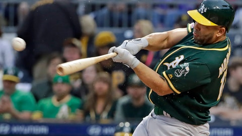 <p>               Oakland Athletics' Kendrys Morales drives in a run with a triple off Pittsburgh Pirates starting pitcher Trevor Williams during the first inning of a baseball game in Pittsburgh, Saturday, May 4, 2019. (AP Photo/Gene J. Puskar)             </p>