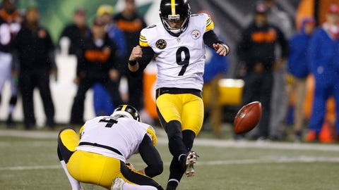 <p>               FILE  = In this Dec. 4, 2017, file photo, Pittsburgh Steelers kicker Chris Boswell (9) kicks a field goal from the hold of Jordan Berry (4) against the Cincinnati Bengals, in Cincinnati. The Steelers kicker knows his underwhelming 2018 season directly contributed to the Steelers missing the playoffs. Yet rather than reinvent his offseason routine, he doubled down confident, he could bounce back.(AP Photo/Gary Landers, File)             </p>