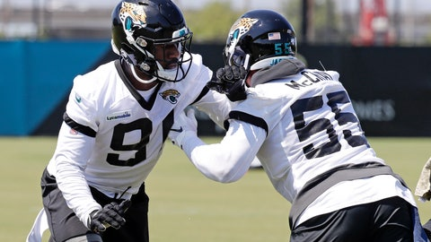 <p>               Jacksonville Jaguars defensive end Yannick Ngakoue, left, and defensive end Lerentee McCray (55) perform a drill during the an NFL football practice, Tuesday, May 21, 2019, in Jacksonville, Fla. (AP Photo/John Raoux)             </p>
