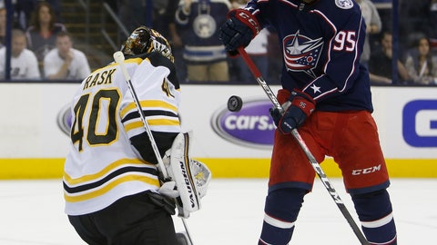 <p>               Boston Bruins' Tuukka Rask, left, of Finland, makes a save against Columbus Blue Jackets' Matt Duchene during the second period of Game 6 of an NHL hockey second-round playoff series Monday, May 6, 2019, in Columbus, Ohio. (AP Photo/Jay LaPrete)             </p>