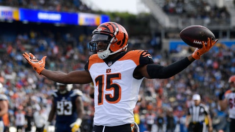 <p>               FILE - In this Dec. 9, 2018, file photo, Cincinnati Bengals wide receiver John Ross (15) celebrates after scoring a touchdown against the Los Angeles Chargers during the first half of an NFL football game in Carson, Calif. Receiver John Ross read reports that the Bengals were going to trade him during the draft. Not only did they keep him, they chose not to get any more receivers, leaving Ross with an important role. (AP Photo/Mark J. Terrill, File)             </p>
