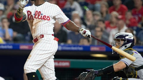<p>               Philadelphia Phillies' Andrew McCutchen watches his two-run home run during the third inning of the team's baseball game against the Colorado Rockies, Friday, May 17, 2019, in Philadelphia. (AP Photo/Chris Szagola)             </p>