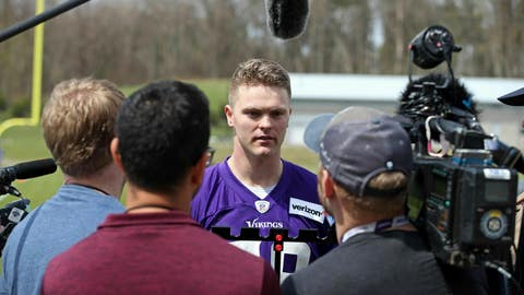 <p>               Minnesota Vikings rookie Austin Cutting talks with reporters after rookie minicamp workouts began at the NFL football team's complex Friday, May 3, 2019, in Eagan, Minn. Cutting became the first Air Force player drafted in 20 years when the Vikings took the long snapper in the seventh round. Pursuing a pro football career isn't so simple, though, with required military service to be sorted out first for Cutting. (AP Photo/Jim Mone)             </p>