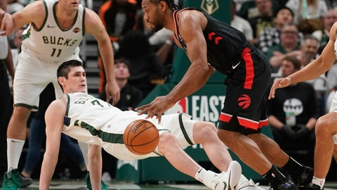 <p>               FILE - In this Wednesday, May 15, 2019, file photo, Toronto Raptors' Kawhi Leonard is called for a charge on Milwaukee Bucks' Ersan Ilyasova during the first half of Game 1 of the Eastern Conference finals NBA basketball playoff series in Milwaukee. Successfully taking a charge is difficult and even those who are willing to try won't always do so. Yet it's a play that can change the momentum of a game during the pressure-packed postseason. (AP Photo/Morry Gash, File)             </p>