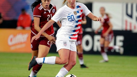 <p>               FILE - In this April 5, 2018, file photo, United States' Allie Long (20) blocks Mexico's Renae Cuellar (21) path to the goal during the second half of an international friendly soccer match, in Jacksonville, Fla. Defender Ali Krieger and midfielders Allie Long and Morgan Brian have been included on the U.S. national team roster for the Women's World Cup in France. All three were widely considered on the bubble for the 23-player roster announced Thursday, May 2, 2019, by coach Jill Ellis. The United States is the defending champion of soccer's premier tournament, which starts on June 7. (AP Photo/John Raoux, File)             </p>