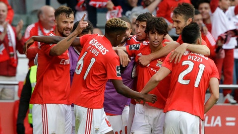 <p>               Benfica's Haris Seferovic, left, celebrates after scoring his side's fourth goal during a Portuguese league last round soccer match between Benfica and Santa Clara at the Luz stadium in Lisbon, Saturday, May 18, 2019. (AP Photo/Armando Franca)             </p>