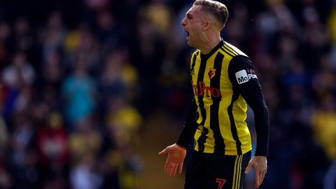 <p>               Watford's Gerard Delofeu celebrates scoring their first goal during their English Premier League soccer match against West Ham United at Vicarage Road, Watford, England, Sunday, May 12, 2019. (Paul Harding/PA via AP)             </p>