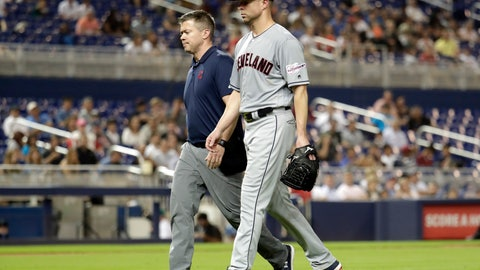 <p>               Cleveland Indians starting pitcher Corey Kluber, right, leaves during the fifth inning of the team's baseball game against the Miami Marlins, Wednesday, May 1, 2019, in Miami. Kluber was hit by a single hit by Marlins' Brian Anderson. (AP Photo/Lynne Sladky)             </p>