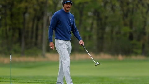 <p>               Tiger Woods walks along the ninth green during a practice round for the PGA Championship golf tournament, Monday, May 13, 2019, in Farmingdale, N.Y. (AP Photo/Julie Jacobson)             </p>