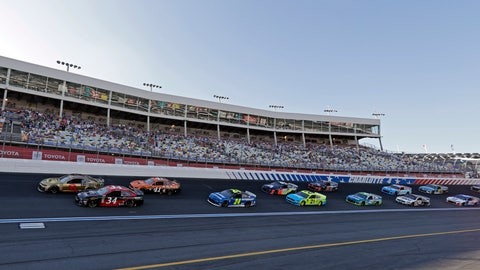 <p>               Daniel Hemric (8) and Michael McDowell (34) lead the field out of Turn 4 for the start of the NASCAR All-Star Open auto race at Charlotte Motor Speedway in Concord, N.C., Saturday, May 18, 2019. (AP Photo/Chuck Burton)             </p>