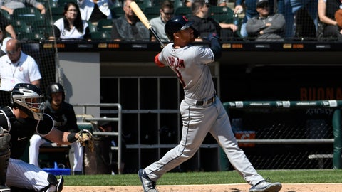 <p>               Cleveland Indians' Jordan Luplow (8) watches his home run against the Chicago White Sox during the sixth inning of a baseball game, Tuesday, May 14, 2019, in Chicago. (AP Photo/David Banks)             </p>