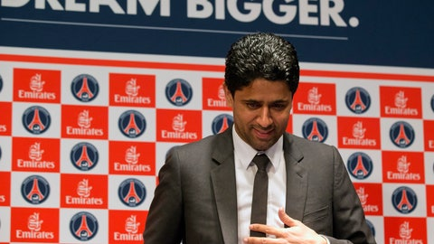 <p>               FILE - In this May 17, 2013 file photo, Paris Saint-Germain soccer club President Nasser Al-Khelaifi, arrives to speak to the media during a press conference at Parc des Princes stadium in Paris. A French judicial official says Al-Khelaifi has been placed under investigation for suspected corruption. (AP Photo/Michel Euler, File)             </p>