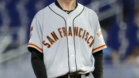 <p>               San Francisco Giants starting pitcher Tyler Beede stands on the mound after giving up a walk to Miami Marlins' Neil Walker during the third inning of a baseball game, Thursday, May 30, 2019, in Miami. (AP Photo/Lynne Sladky)             </p>