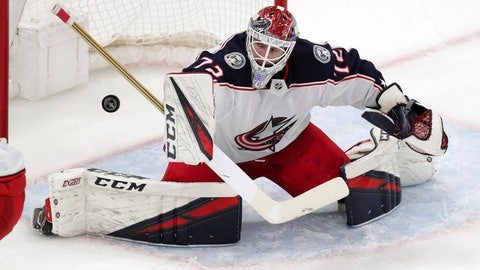 <p>               Columbus Blue Jackets goaltender Sergei Bobrovsky makes a save against the Boston Bruins during the first overtime of Game 2 of an NHL hockey second-round playoff series, Saturday, April 27, 2019, in Boston. (AP Photo/Charles Krupa)             </p>