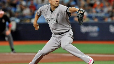 <p>               New York Yankees starter Masahiro Tanaka pitches against the Tampa Bay Rays during the first inning of a baseball game Sunday, May 12, 2019, in St. Petersburg, Fla. (AP Photo/Steve Nesius)             </p>