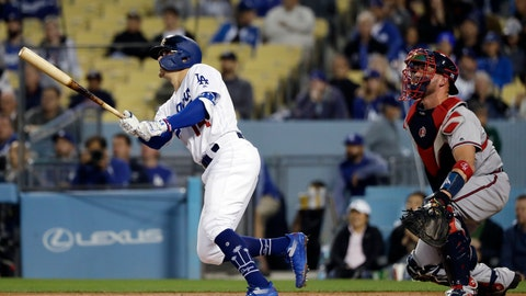 <p>               Los Angeles Dodgers' Enrique Hernandez, left, watches his two-run home run against the Atlanta Braves during the second inning of a baseball game Wednesday, May 8, 2019, in Los Angeles. (AP Photo/Marcio Jose Sanchez)             </p>