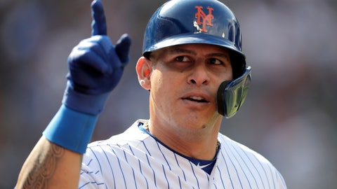 <p>               New York Mets' Wilson Ramos gestures after hitting a solo home run off Detroit Tigers starting pitcher Ryan Carpenter during the second inning of an interleague baseball game, Saturday, May 25, 2019, in New York. (AP Photo/Julio Cortez)             </p>