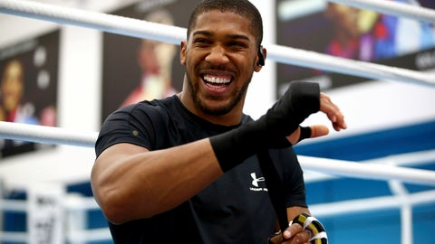 <p>               British boxer Anthony Joshua laughs, prior to a media session at the English institute of Sport, in Sheffield, England, Wednesday May 1, 2019. Andy Ruiz Jr. will look to become Mexico's first heavyweight champion after replacing Jarrell Miller as the opponent for unbeaten WBA, IBF and WBO titleholder Anthony Joshua. (Dave Thompson/PA via AP)             </p>