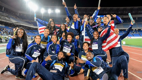 <p>               U.S. relay team pose for a group photo after awarding ceremony at the IAAF World Relays Sunday, May 12, 2019, in Yokohama, Japan. (Nozomi Endo/Kyodo News via AP)             </p>