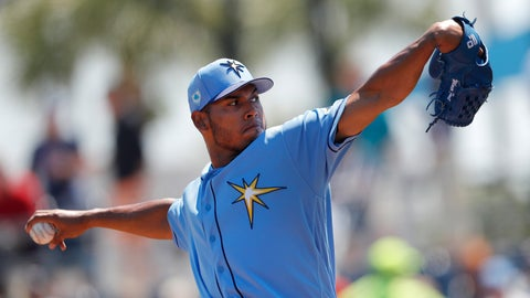 <p>               FILE - In this March 22, 2019, file photo, Tampa Bay Rays pitcher Wilmer Font works in the first inning of a spring training baseball game against the Pittsburgh Pirates in Port Charlotte, Fla. The Mets obtained right-hander Font from the Rays for a player to be named or cash Monday, May 6, 2019. (AP Photo/John Bazemore, File)             </p>
