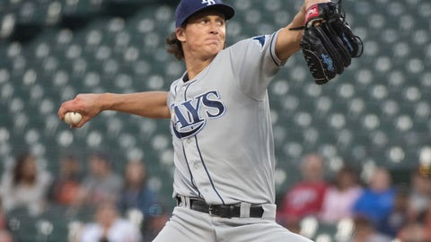 <p>               Tampa Bay Rays starting pitcher Tyler Glasnow throws during the first inning of the team's baseball game against the Baltimore Orioles, Friday, May 3, 2019, in Baltimore. (AP Photo/Tommy Gilligan)             </p>