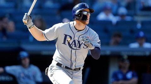 <p>               Tampa Bay Rays' Austin Meadows watches his home run during the 11th inning of a baseball game against the New York Yankees, Saturday, May 18, 2019, in New York. (AP Photo/Jim McIsaac)             </p>