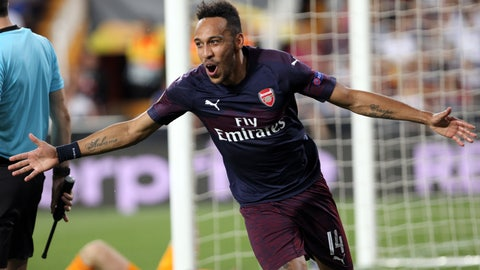 <p>               Arsenal forward Pierre-Emerick Aubameyang celebrates after scoring his side's third goal during the Europa League semifinal soccer match, second leg, between Valencia and Arsenal at the Camp de Mestalla stadium in Valencia, Spain, Thursday, May 9, 2019. (AP Photo/Alberto Saiz)             </p>