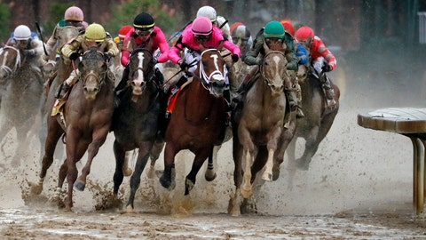 <p>               FILE - In this Saturday, May 4, 2019, file photo, from front left, Country House, ridden by Flavien Prat,  War of Will, ridden by  Tyler Gaffalione, Maximum Security, ridden by  Luis Saez, and  Code of Honor, ridden by  John Velazquez, round the far turn during the 145th running of the Kentucky Derby horse race at Churchill Downs in Louisville, Ky.  If not for the quick reaction of jockey Tyler Gaffalione and his horse, War of Will, when Maximum Security drifted over in the final turn in sloppy conditions, it could have be been a catastrophe.  (AP Photo/John Minchillo, File)             </p>