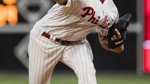 <p>               Philadelphia Phillies' Aaron Nola pitches during the first inning of a baseball game against the Detroit Tigers, Wednesday, May 1, 2019, in Philadelphia. (AP Photo/Matt Rourke)             </p>