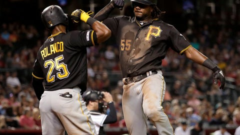 <p>               Pittsburgh Pirates' Josh Bell celebrates his two-run home run with Gregory Polanco (25), during the fifth inning of the team's baseball game against the Arizona Diamondbacks on Tuesday, May 14, 2019, in Phoenix. (AP Photo/Matt York)             </p>