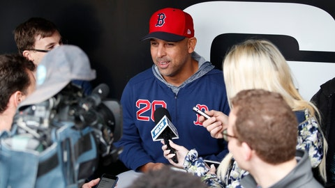 <p>               Boston Red Sox manager Alex Cora (20) talks with the media before a baseball game against the Chicago White Sox in Chicago, Friday, May 3, 2019. (AP Photo/Jeff Haynes)             </p>