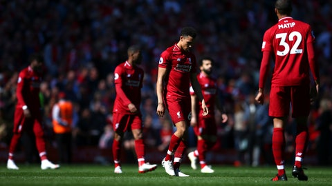 <p>               Liverpool players come out for the second half during the English Premier League soccer match between Liverpool and Wolverhampton Wanderers at the Anfield stadium in Liverpool, England, Sunday, May 12, 2019. Despite a 2-0 win over Wolverhampton Wanderers, Liverpool missed out on becoming English champion for the first time since 1990 because title rival Manchester City beat Brighton 4-1. (AP Photo/Dave Thompson)             </p>