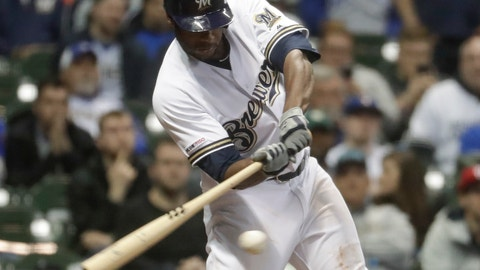 <p>               Milwaukee Brewers' Lorenzo Cain hits a three-run scoring double during the seventh inning of a baseball game against the Washington Nationals Tuesday, May 7, 2019, in Milwaukee. (AP Photo/Morry Gash)             </p>