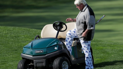<p>               John Daly gets in his golf cart after putting on the fifth green during the second round of the PGA Championship golf tournament, Friday, May 17, 2019, at Bethpage Black in Farmingdale, N.Y. (AP Photo/Julio Cortez)             </p>