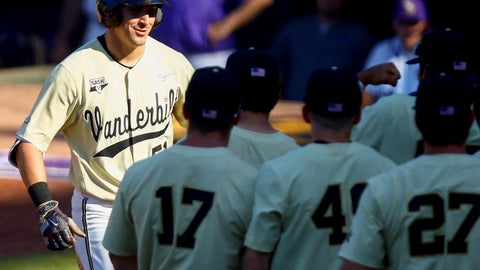 <p>               Vanderbilt's JJ Bleday smiles as he greets teammates after his solo home run during the third inning of the Southeastern Conference tournament NCAA college baseball game against LSU, Saturday, May 25, 2019, in Hoover, Ala. (AP Photo/Butch Dill)             </p>